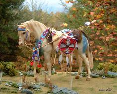 LSQ Museum Quality Native American Indian fully beaded 1:9 scale model tack made by Cindy Walker
