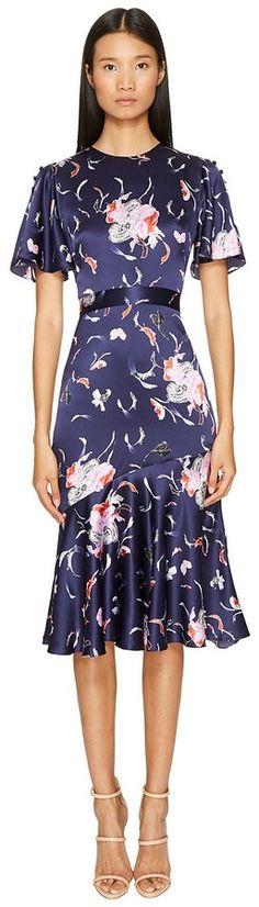 Prabal Gurung Falling Floral Charmeuse Flounce Sleeve Dress w/ Flare Skirt Women's Dress