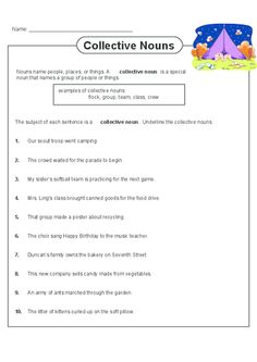 Practice identifying collective nouns with this free worksheet! Grammar Practice, Grammar Lessons, Collective Nouns Worksheet, Nouns Exercises, Plurals Worksheets, Types Of Nouns, Nouns And Pronouns, English Fun, English Grammar