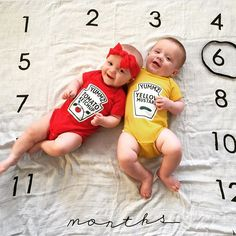 "Like their mama said, ""you can't have ketchup without mustard!"" Cutest duo right here!! These two"