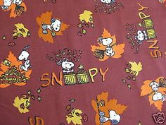 Free-Shipping-By-the-Yard-Snoopy-Peanuts-Fall-Autumn-Cotton-Fabric