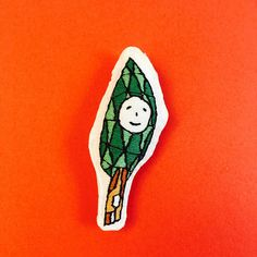 Tree san embroidered brooch hand stitched brooch