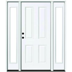 Steves & Sons 68 in. x 80 in. 4-Panel Primed White Right-Hand Steel Prehung Front Door with 14 in. Clear Glass Sidelites 4 in. Wall, White Primer
