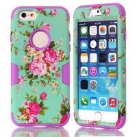 Wish   Peony Flower Pattern Hybrid 3 in 1 Armor Hard Plastic+Silicone Skin Case for iPhone 6 6S 4.7 inch Shockproof Cover for iPhone 6 6S Plus 5S 5 4S 4G for iPod Touch 5 / Touch 6 for Samsung Galaxy S3 / S4 / S5 / S6 / S6 Edge / S6 Edge Plus / Note 5