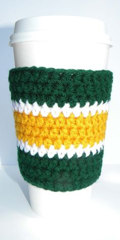 Crochet Hot or Cold Cup Cozy, Holder - Green and Gold. Inspired by the Green Bay Packers colors.