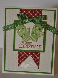 Stampin' Up! Chock-Full of Cheer with the use of Stampin' Up! Big Shot and embossing folder.