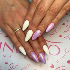Mr.White + Mermaid Effect Pastel Pink by Ania Leśniewska Indigo Educaor Ostrołęka #nails #nail #pink #white #mermaid #spring #pink #pastel #indigo