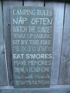 Custom Rustic Camping, Camper, Cabin, Lake, Cottage Rules 11x24 Sign Primitive Typography  subway sign by Wildoaks on Etsy https://www.etsy.com/listing/157495598/custom-rustic-camping-camper-cabin-lake