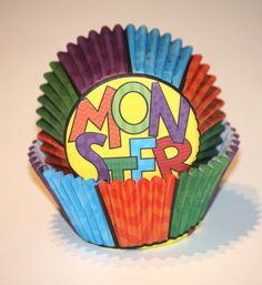 24 Monster Cupcake Liners, Colorful Cupcake Papers, Chevron Baking Cups Boy Birthday Party Supplies