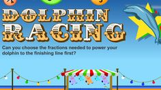 Fraction Dolphin Racing - Choose the largest fraction to make your dolphin swim faster to win. Math Fractions, Comparing Fractions, Equivalent Fractions, Teaching Tools, Teaching Math, Teaching Ideas, Classroom Games, Math Games