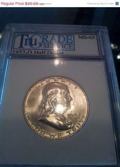 1957D Ben Franklin Silver Half Dollar Graded by DrewsCollectibles, $18.60