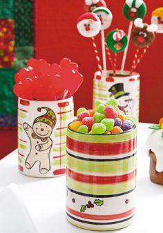 Potes de cerâmica com pintura natalina / DIY, craft