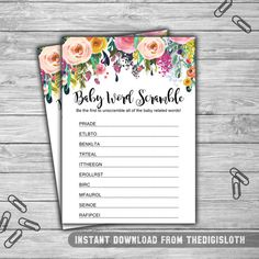 075 / Baby Shower / Decoration / Game / Sign / Floral / Shabby Chic / Baby Word Scramble Game