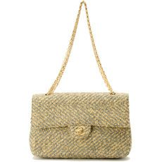 #Chanel #tweed double #chain shoulder bag. Available at lxrco.com for $2299