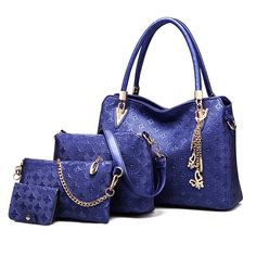 Abshoo Women Clutch Bag Faux Leather Shoulder Crossbody Purse Handbags (Navy). Material: High quality faux leather with fabric lining, gold tone hardware. This bag set contains 3 bags, 1*handbag, 1*shoulder bag and 1*clutch. Large Handbags Structure:1*Outside Zipper Pocket,2*Inside Cell Pocket,2*Inside Zipper Pocket,2*Inside Volume Mainbag. Large Handbags Capacity:Easily carry your A4 file, mobile phone, wallet, cosmetic, IPAD, umbrella and other daily things. Large Handbags High quality...