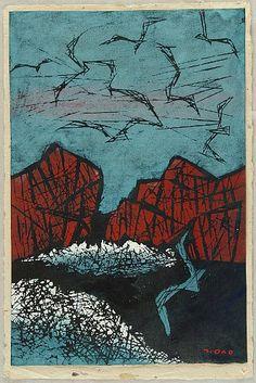 Tadashige Ono 1909-1990 - Birds over Boat Wake - artelino Art Auctions.