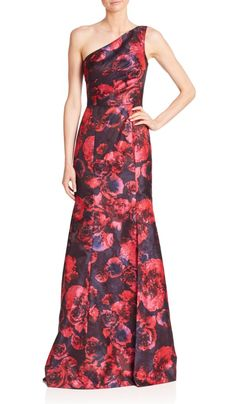 Theia | One-Shoulder Floral Jacquard Gown | SAKS OFF 5TH