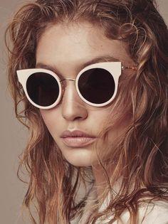 Gigi Hadid poses with Max Mara sunglasses in fall-winter 2016 accessories campaign