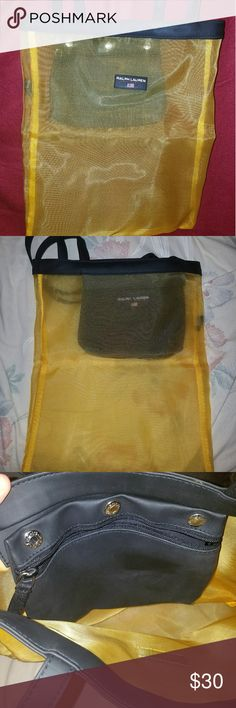 Ralph Lauren Polo Sport Mesh Bag / Tote This is a Ralph Lauren Polo Sport yellow mesh bag. It has an inside pocket that you can remove. I've not used it very much. The crease is because it's been in my closet! That will go away.   This bag is great as a beach bag!  Accepting offers and bundles   Smoking free home Ralph Lauren Bags Totes