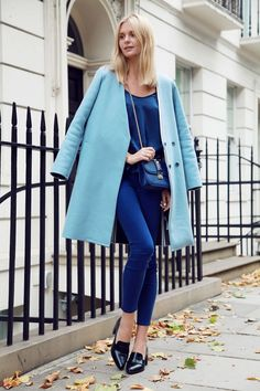 Blue coat and a full blue outfit