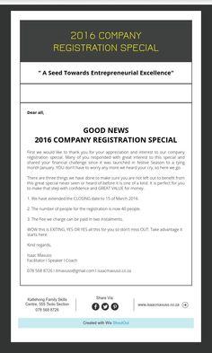 2016 COMPANY REGISTRATIONSPECIAL