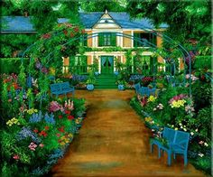 Painting of Monet's House and Gardens at Giverny France