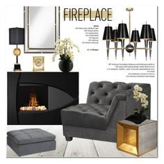 """Fireplace"" by helenevlacho ❤ liked on Polyvore featuring interior, interiors, interior design, home, home decor, interior decorating, Howard Miller, design, fireplace and decor"