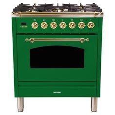 Hallman 30 in. Single Oven Dual Fuel Italian Range True Convection, 5 Burners, LP Gas, Bronze Trim in Emerald Green - - The Home Depot