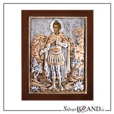 Exact copy of byzantine silver icon depicting Saint Fanourios.