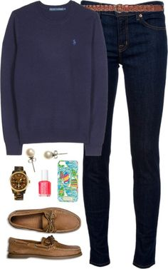 """Polo & Sperry's by classically-preppy featuring a gold bracelet <span class=""""EmojiInput mj40"""" title=""""Heavy Black Heart""""></span> liked on PolyvoreRalph Lauren sweater / J Brand mid rise skinny jeans, $280 / Sperry Top-Sider flat / Michael Kors gold bracelet, $290 / J.Crew pearl stud earrings / Lilly Pulitzer tech accessory / Zara belt / Essie nail polish"""