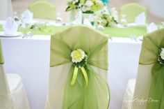 tulle with ribbons and flowers on the backs of the chairs. the flower portion could also be used on the pews