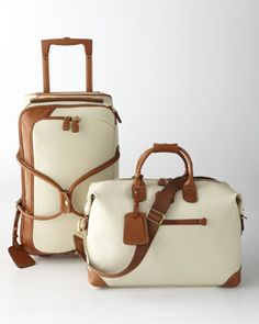 Bric's Bojola Collection Luggage. I can't actually find this bag on the linked website, but I like the white and brown leather combination. Maybe someone else makes a similar bag