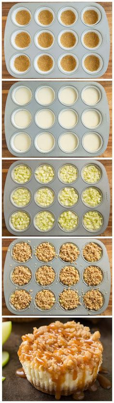 Caramel Apple Mini Cheesecakes with Streusel Topping | kitchenshares