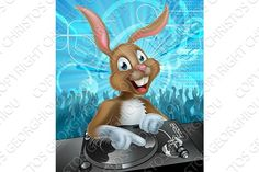 Easter Bunny DJ Party by Christos Georghiou on @creativemarket