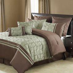 Victoria Classics Destinee 8-Piece Queen Comforter Set Green & Chocolate