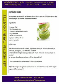 Tupperware salé - Pesto basilic Tupperware Pressure Cooker, Ketchup, Food Hacks, Appetizer Recipes, Food And Drink, Cooking, French Recipes, Food, Cooking Recipes