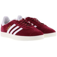 Adidas Gazelle Sneakers ($87) ❤ liked on Polyvore featuring shoes, sneakers, adidas, red, adidas trainers, adidas shoes, red sneakers and red trainers