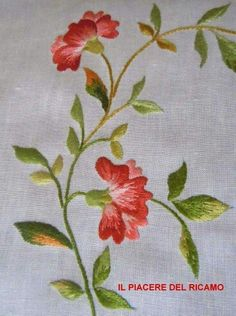 The Pleasure of embroidery Floral Embroidery Patterns, Embroidery Flowers Pattern, Embroidery Works, Types Of Embroidery, Embroidery Needles, Hand Embroidery Stitches, Silk Ribbon Embroidery, Crewel Embroidery, Hand Embroidery Designs
