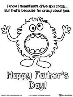 **FREE** Father's Day Card Crazy About You Coloring Page Worksheet.Give dad a funny father's day card with this personalized coloring page. Crazy About You!