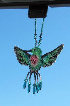 Hummingbird Rear View Mirror Decoration by CreationsbyWhiteWolf, $22.00