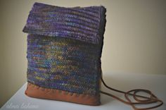 Herringbone Knit Satchel- handmade cross body bag with liner and leather, multicolored/variegated, autum, winter