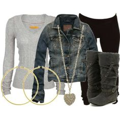 leather jacket, stud earrings, no necklace, black boots w/ fur top.