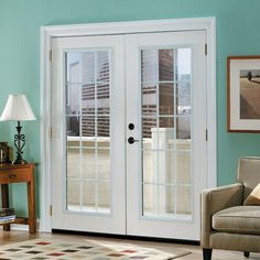 Masonite Canyon View Prehung Left Hand Inswing 15 Lite GBG Fiberglass Patio  Door With No