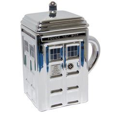 Doctor Who Silver Ceramic Tardis Mug with Lid - Only £20!!