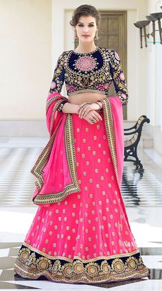 This georgette lehenga choli in stylish ruby color with dupatta which is beautified with embroidery work. It has heavy work of zari, resham, embroidery, butta, stone and lace decorated in the skirt part which is increasing its beauty. This unstitched choli can be stitched in the maximum bust size of 40 inches, Lehenga Waist is 38 inches and lehenga length is 40 inches. Product Code  4H2100483
