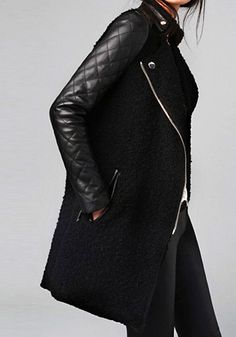 Quilted Faux Leather Sleeved Biker Coat by @LookBookStore