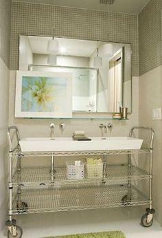 Industrial Metal Shelf Turned into Sink mod