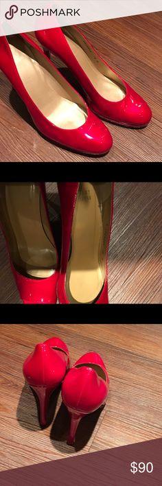 Platswoon Platform Patent Leather Red/fire red pumps Stuart Weitzman Shoes Heels