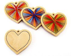 Valentine's Embroidery DIY kit heart Homemade Ornament Wooden Blanks for Modern Embroidery Valentine's DIY Gift Key Chain Pendant