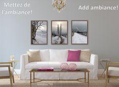 Voici un autre exemple où sont utilisées dans un salon trois de mes photographies sur un thème commun.